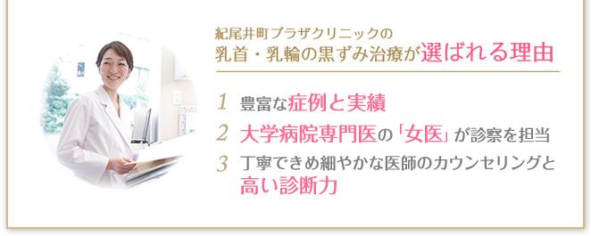 紀尾井町プラザクリニックの乳首・乳輪の黒ずみ治療が選ばれる理由 担当医師の圧倒的症例経験数 丁寧できめ細やかな医師の診断力 女医が診察を担当